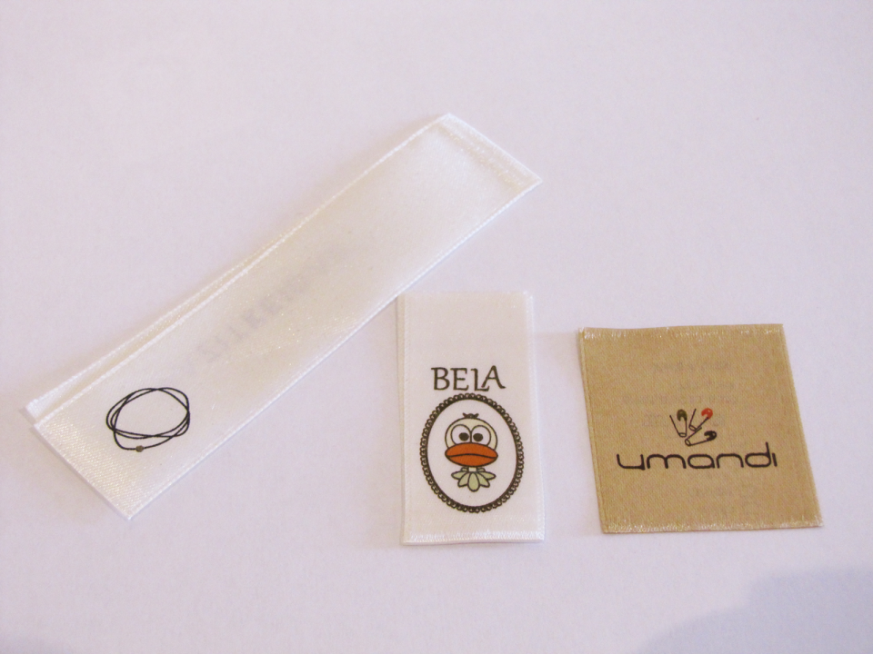 printed logo labels | satin