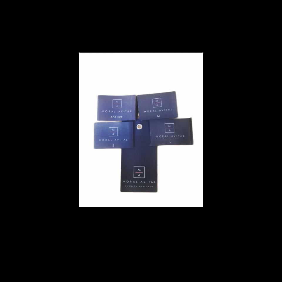 תויות לוגו + מידה מודפסות על סאטן